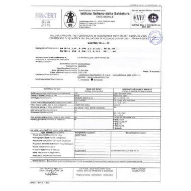 Patentino saldatori 135