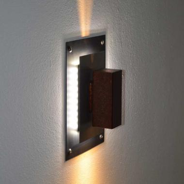 Luce a led da parete in acciaio naturale, inox e Cor-Ten