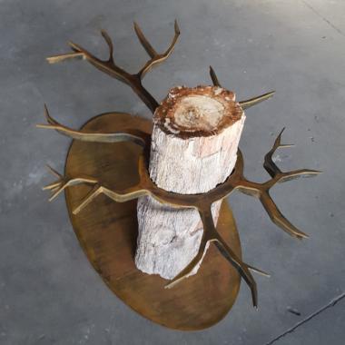 tavolo Cor-Ten e legno fossile 750 x 750